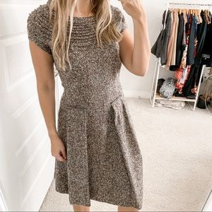 Oscar De la Renta Fit and Flare Tweed Dress Brown